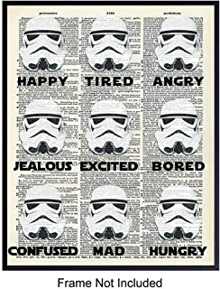 Funny Stormtrooper Dictionary Art Print - Vintage Upcycled Wall Art Poster- Modern Chic Home Decor for Man Cave, Bedroom, Kids, Teens Room, Family Room - Gift for Star Wars Fans, 8x10 Photo Unframed