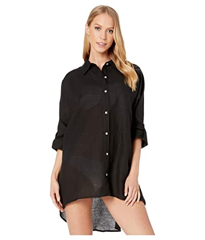 Seafolly Lightweight Linen Blend Shirt Cover-Up (Black) Women