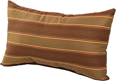 Sunbrella Davidson Redwood Stripes Pillow Cover with Cocoa Backing n Zipper