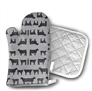 Black Angus Fabric Cattle and Cow Fabric Cow Desi Kitchen Potholder - Heat Resistant Oven Gloves to Protect Hands and Surfaces with Non-Slip Grip,Ideal for Handling Hot Cookware Items.