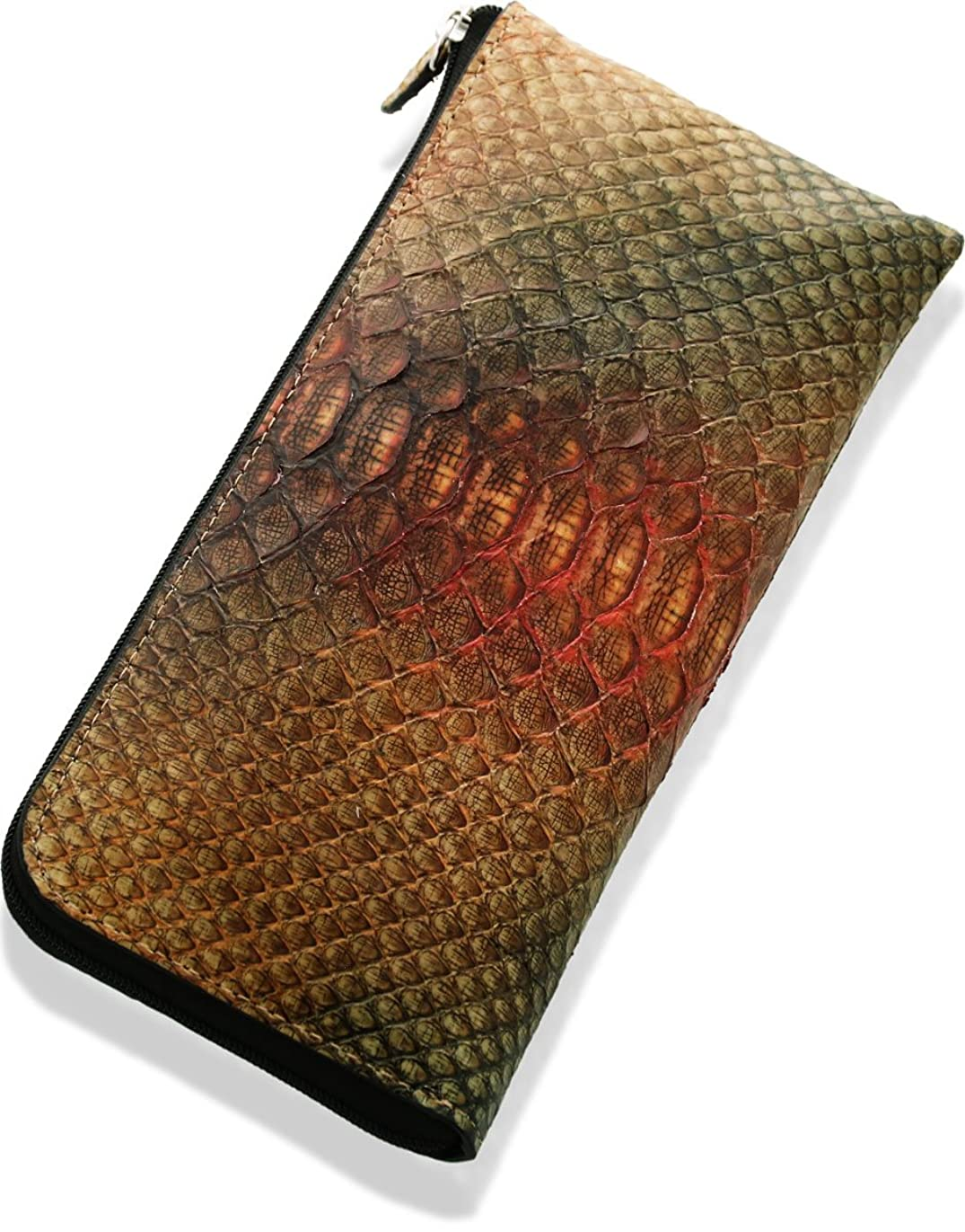 アボート頭蓋骨レモンヘビ パイソン L字 ファスナー スマート 長財布 スペイン産 蛇革 レディース