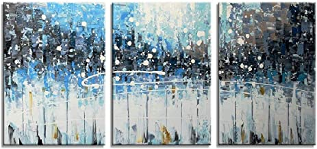 HLJ ART 3 Pieces 12x16inch Modern Abstract Dark Blue Hand Painted Oil Paintings Framed on Canvas Ready to Hang on Wall Bathroom Living Room (Blue, S)