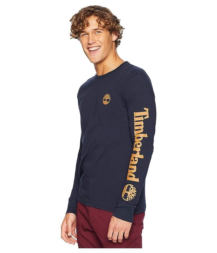 Timberland Long Sleeve Logo Tee (Navy/Wheat) Men