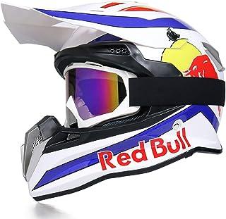 Motorradhelm Fullface Helm,Fahrradhelm ABS DOT/ECE Zertifizierung Herren Rallye Helm Four Seasons Mountainbike Vollhelm Brillenhandschuhe Red Bull B,M
