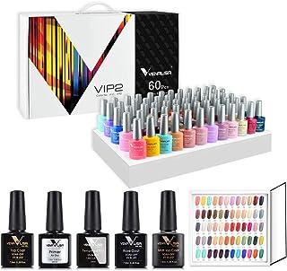 VENALISA Manicurist Kit de esmalte de uñas de gel VIP de 60 colores con tarjeta de color base y capa superior UV LED Soa...