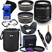 Canon EF-S 18-55mm f/3.5-5.6 is Mark II Zoom Lens for Canon DSLR Cameras (International Version) + Telephoto & Wide Angle Lenses + 3pc Filter + 7pc Accessory Kit w/HeroFiber Gentle Cleaning Cloth