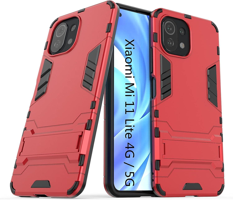 LXHGrowH Funda Xiaomi Mi 11 Lite, Fundas 2in1 Dual Layer Anti-Shock 360° Full Body Protección TPU Silicona Gel Bumper y Duro PC Armadura con Soporte Carcasa para Xiaomi Mi 11 Lite 4G / 5G, Rojo