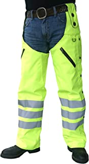Missing Link Reversible Hook Chaps with Kevlar Insert (Black/HiViz Green, Small)