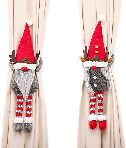new arrival 2PCS Christmas Gnome Curtain Buckles - Swedish new arrival Tomte online sale Curtain Buckle Tieback Fastener Curtain Hook for Xmas Home Ornaments, Window Decorations online