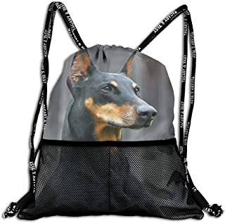Polyester Drawstring Backpack Theft Proof Waterproof Large Size Shoulder Bags Large Capacity For Basketball, Volleyball, Baseball, Sports Gear (German Doberman Pinscher)