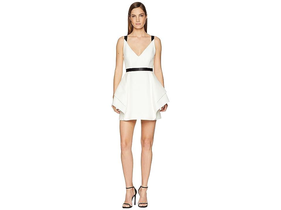 Halston Heritage Sleeveless V-Neck Dramatic Flounce Skirt (Chalk/Black) Women