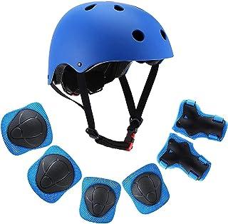 Lixada Kids 7 in 1 Helmet and Pad Set Adjustable Kids Knee Pads Elbow Pads Wrist Guards for Scooter Skateboard Roller Skat...