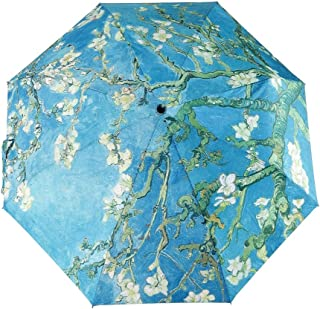 GLODEALS Van Gogh Masterpiece Oil Painting Automatic 3 Folding Parasol Sun Protection Anti-UV Umbrella for Women (Almond B...