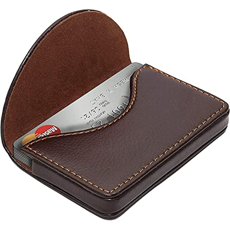 NISUN PU Leather Pocket Sized Credit Card Holder Name Card Case Wallet with Magnetic Shut for Men & Women Brown (100 X 65 X 14 mm)
