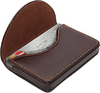 NISUN Imported Leather Pocket Sized Credit Card Holder Name Card Case Wallet with Magnetic Shut for Men & Women Brown