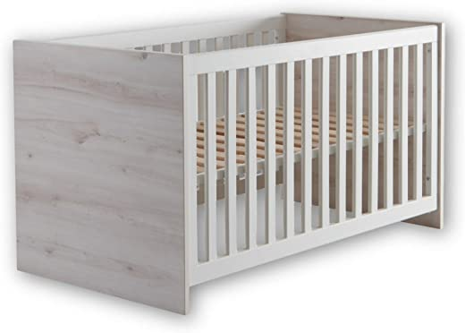 Stella Trading CUBY Sicheres Babybett mit 70 x 140 cm Liegefläche - Schönes Baby Gitterbett für einen geborgenen Schlaf in Aurum Optik & Weiß - 77...
