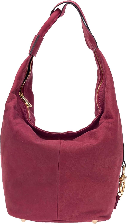 Nardelli Italian Made Dusty Purple Nubuck Leather Large Hobo Bag