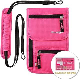 Travel Neck Pouch Hidden Passport Holder Wallet RFID Blocking/Neck Stash For Men Women (Rosy)