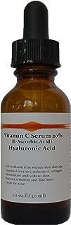 Vitamin C Skin Serum 20% (L-Ascorbic Acid) with Pure Hyaluronic Acid Anti Aging Serum (1oz)