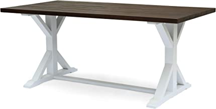 Mayo Outdoor Rustic Farmhouse Acacia Wood Dining Table, Dark Brown and White