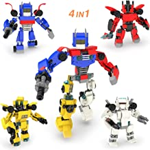 4-in-1 Robot Building Blocks Toys for Boys, 504 PCs Creative Building Bricks Compatible with Major Brands, Goodie Bags Fillers, Carnival Prizes, Treasure Box Prizes for Classroom, Pinata Filler