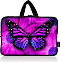 AUPET Purple Butterfly Universal 7 ~ 8 inch Tablet Portable Neoprene Zipper Carrying Sleeve Case Bag
