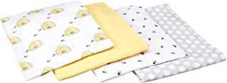 Hudson Baby Unisex Baby Cotton Flannel Receiving Blankets, Bee, One Size