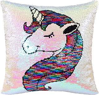 MHJY Unicorn Pillow Insert,Magic Reversible Sequins Mermaid Pillow 16