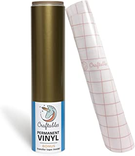 Craftables Gold Vinyl Roll - Permanent, Adhesive, Glossy & Waterproof | 12