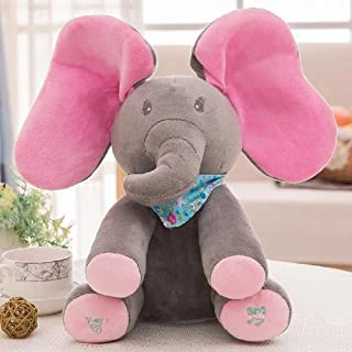 Plush toy peek-a-boo Elephant, Grey Musical Animated Flappy Ear Singing Elephant Cuddle Stuffed Toy for Baby Boy and Girl 12 Inch Tall Set of 1