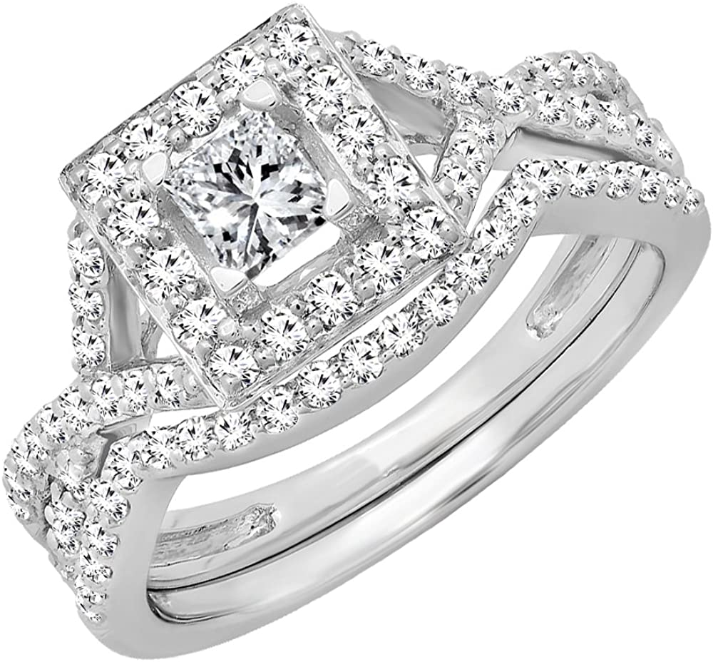 Free shipping / New Dazzlingrock Collection 1.00 Carat Import ctw 14K Di Round Princess