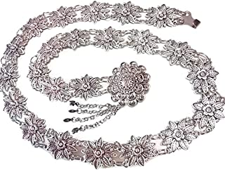 PunPund Silver Plated Thai Belts Women Vintage Orchid Plate Metal Dress Costume Traditional Length 41