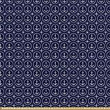 ABAKUHAUS Navy blau Stoff als Meterware, Windrose und Seil,