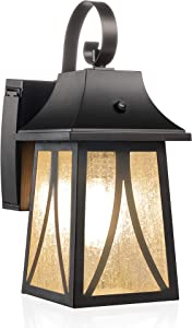 CLOUDY BAY GFCI 120V Dusk to Dawn Outdoor Wall Lantern with Seeded Glass and Built-in GFCI Outlets, Includes LED Filament Bulb, Oil Rubbed Bronze