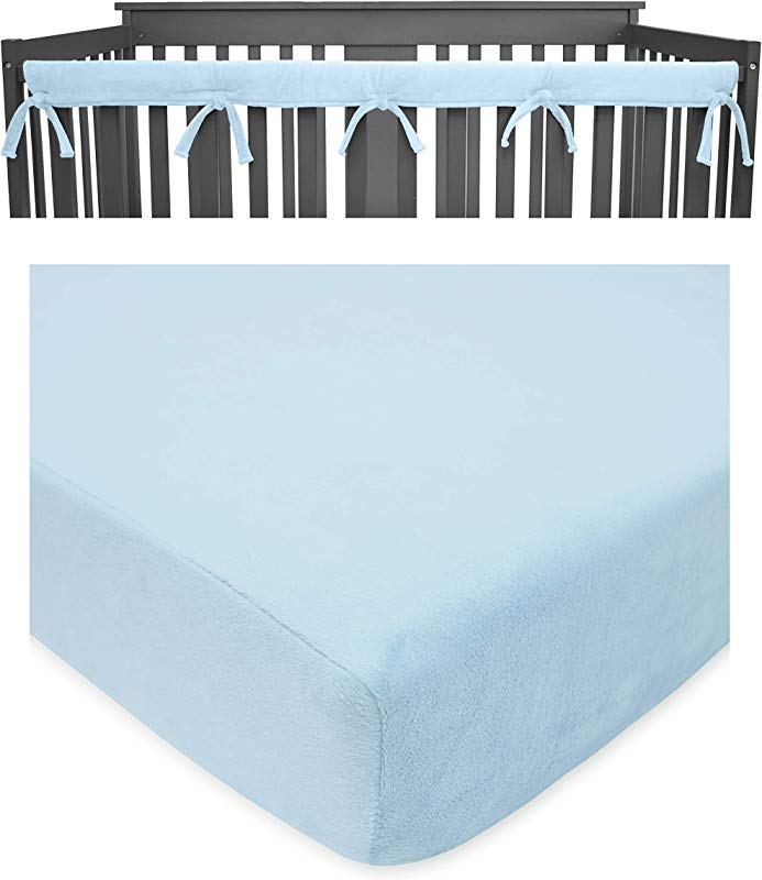 American Baby Company Heavenly Soft Crib Cover Plus Crib Sheet For Long Rail Blue White