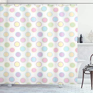 Ambesonne Polka Dots Home Decor Collection, An Image of Round Polka Dots Cheerful Childish Trendy Vintage Bohemian Spots Print, Polyester Fabric Bathroom Shower Curtain Set with Hooks, Multi