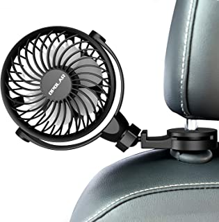 Car Fan With Clips, USB Car Fan for Back Seat, 360° Rotation, 4 Speeds, Powerful, 5V Cooling Fan, Portable Personal Vehicl...