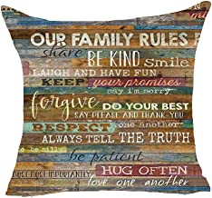Our Family Rules Share Be Kind Gentle Laugh and Have Fun Love One Another Retro Best Gift Square Pillowcase Cushion Cover Pillow Cover Cotton Linen Pillow Case 18