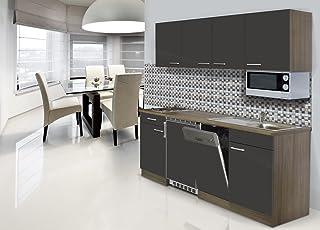 respekta Einbau Single Küche Küchenblock 195 cm Eiche York Nachbildung Grau Kochplatte