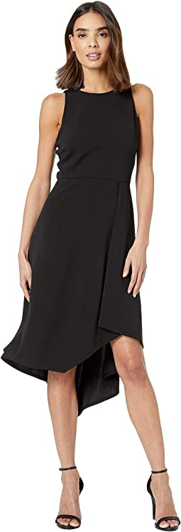 Scuba Crepe Dress with Asymmetrical Hem