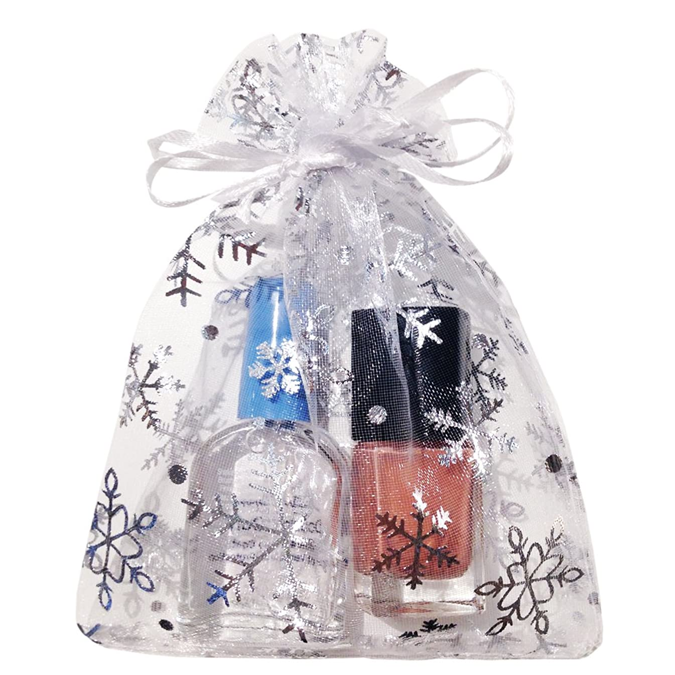 Crafts Organza Gift Bags | White with Silver Snowflakes, Size 6