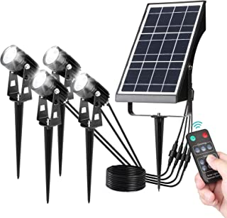 Decdeal Solar Landscape Spotlights with Timer & Remote Control, 4-in-1 Outdoor Adjustable Brightness Warm Lights IP65 Wate...