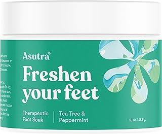 ASUTRA Therapeutic Foot Soak + Pedicure Pumice Stone (Dead Sea Salt w/ Tea Tree & Peppermint Oils), 16 oz | Reduces Swelli...