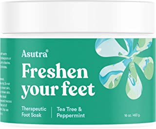 ASUTRA Therapeutic Foot Soak + Pedicure Pumice Stone (Dead Sea Salt w/Tea Tree & Peppermint Oils), 16 oz | Improves Circulation | Reduces Swelling | Relieves Itching & Burning | Fights Foot Odor