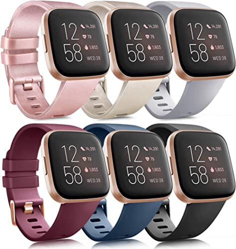 6 Pack Sport Bands Compatible with Fitbit Versa 2 / Fitbit Versa/Versa Lite/Versa SE, Classic Soft Silicone Replaceme...
