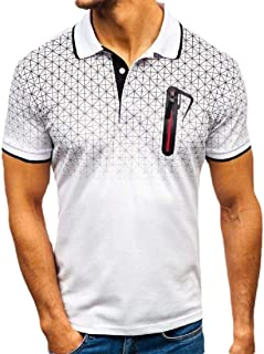 Abeaicoc Mens Zip Plaid Sleeve Short Trim Gradient Color Summer Golf Polo Shirt