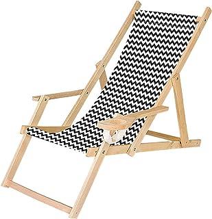 Sdraio PRENDISOLE spiaggina in legno con prolunga POGGIAPIEDI reclinabile 2 posizioni Fantasia Verde