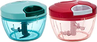 Amazon Brand - Solimo Compact Vegetable Chopper (350ml, Green) & Compact Vegetable Chopper (350ml, Magenta) Combo