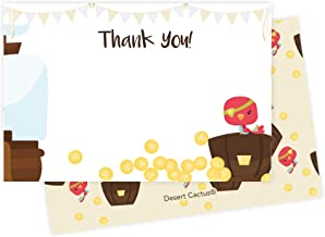 Pirate Thank You Cards (25 Count) With Envelopes and Seal Stickers Bulk Birthday Party Bridal Blank Graduation Kids Children Boy Girl Baby Shower (25ct)