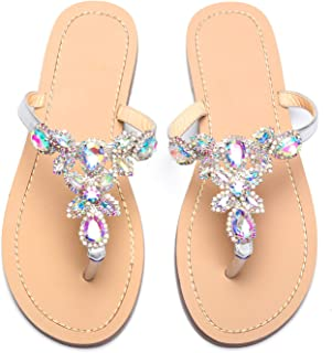 azmodo Women's Jeweled Hand Crafted Crystal Flip Flops Rhinestones Flats Sandals Y22